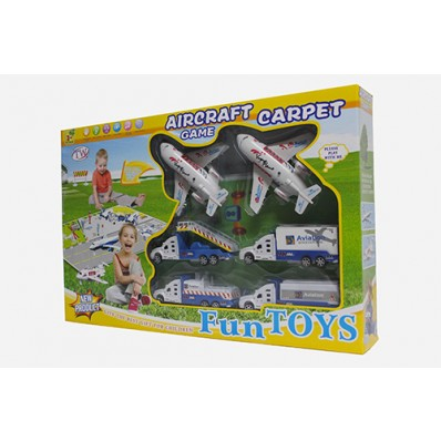 Fun Aircraft Game With Carpet Plane and Truck Toy Playset