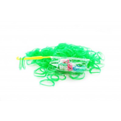 Loom Band Bracelets Refill Pack - Green jelly 600 Bands