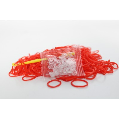 Loom Band Bracelets Refill Pack - Plain Red 600 Bands