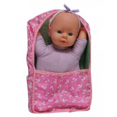 Girl Baby Doll In Carrier Bed