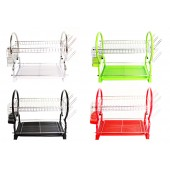 Stainless Steel 2-Layer Dish Rack Wiith Utensil Slot - M7669