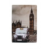 Big Ben And Taxi Decoration Vintage Metal Plate