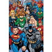 Marvel DC Comic Collage Poster On Wooden Board