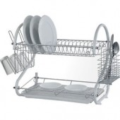 Stainless Steel 2 Tier Dish Drainer Rack Glass Utensil - J802B