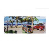 Old Style Jeep On Beach Canvas