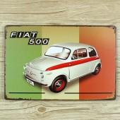 FIAT 500 Vintage Metal Plate