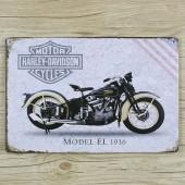 Harley Davidson Motor Cycle Vintage Metal Plate