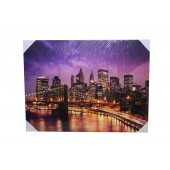 Beautiful Large New York City Canvas With LED Light