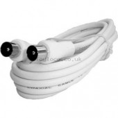 Coaxial Aerial Flylead Plug to Plug 2m White