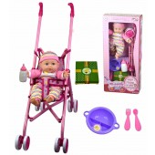 Baby Doll Girl With Pink Stroller Doll Feeding Milk Bottle Dolls Accessories Toy