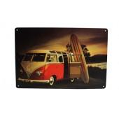 VW Van And Surf Vintage Metal Plate