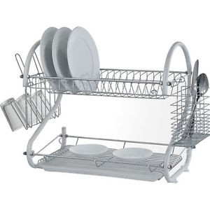 stainless steel dish rack stainless steel 2 tier dish drainer rack glass utensil j802b 29087